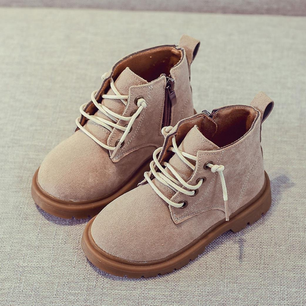 Clode/® for 2-12 Years Old Children Kids Baby Lace Up Suede Hard Sole Martin Sneaker Boots Winter Casual Snow Boots