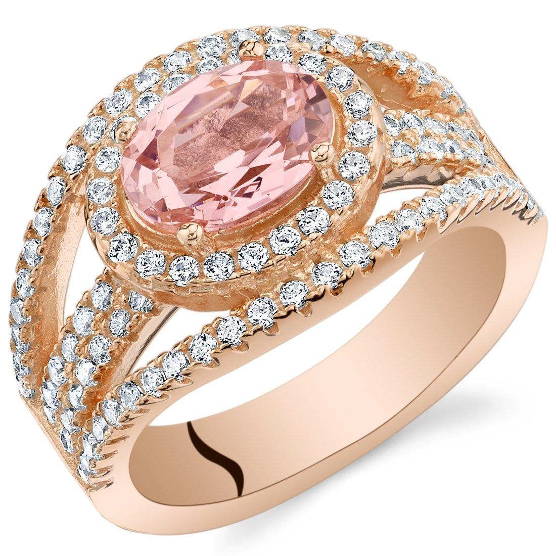 Peora Simulated Morganite Rose-Tone Sterling Silver Serenity Ring