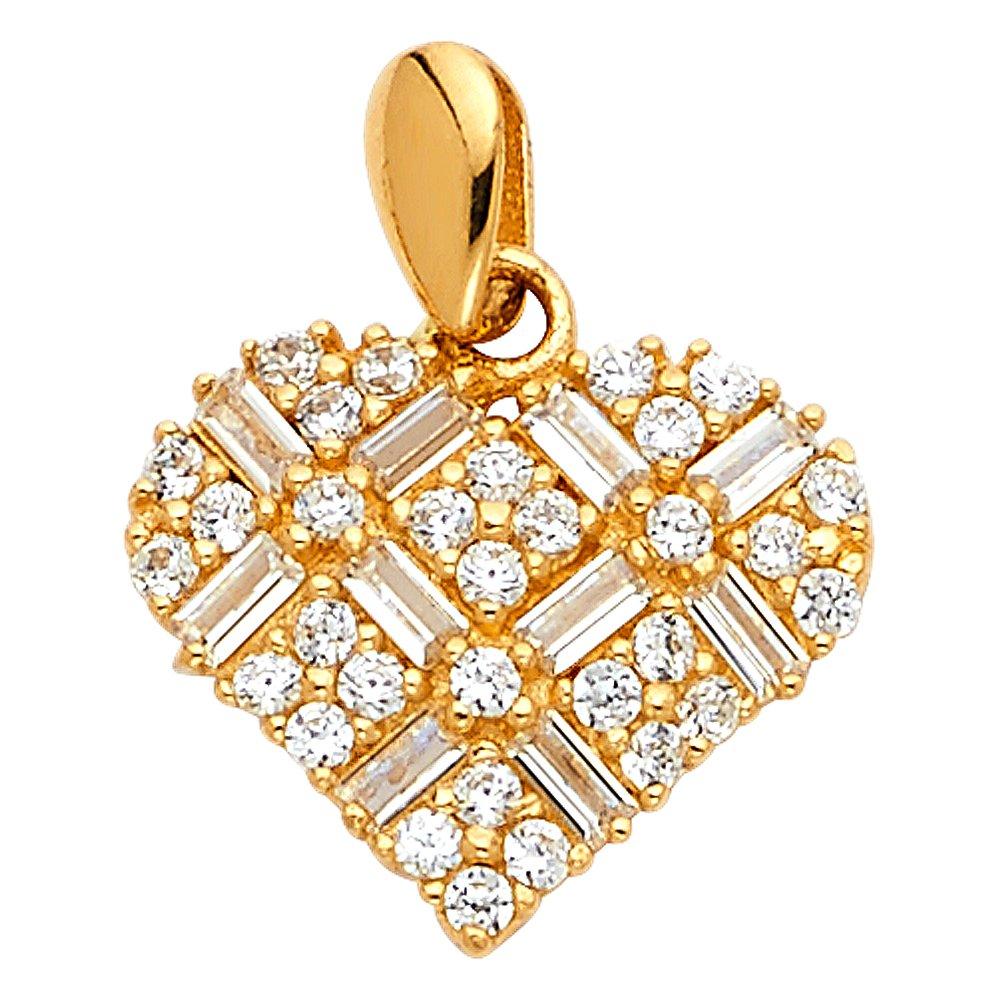 Solid 14k White Gold CZ Heart Pendant Love Flower Charm Fashion Stylish Polished Finish Fancy 15 x 15 mm