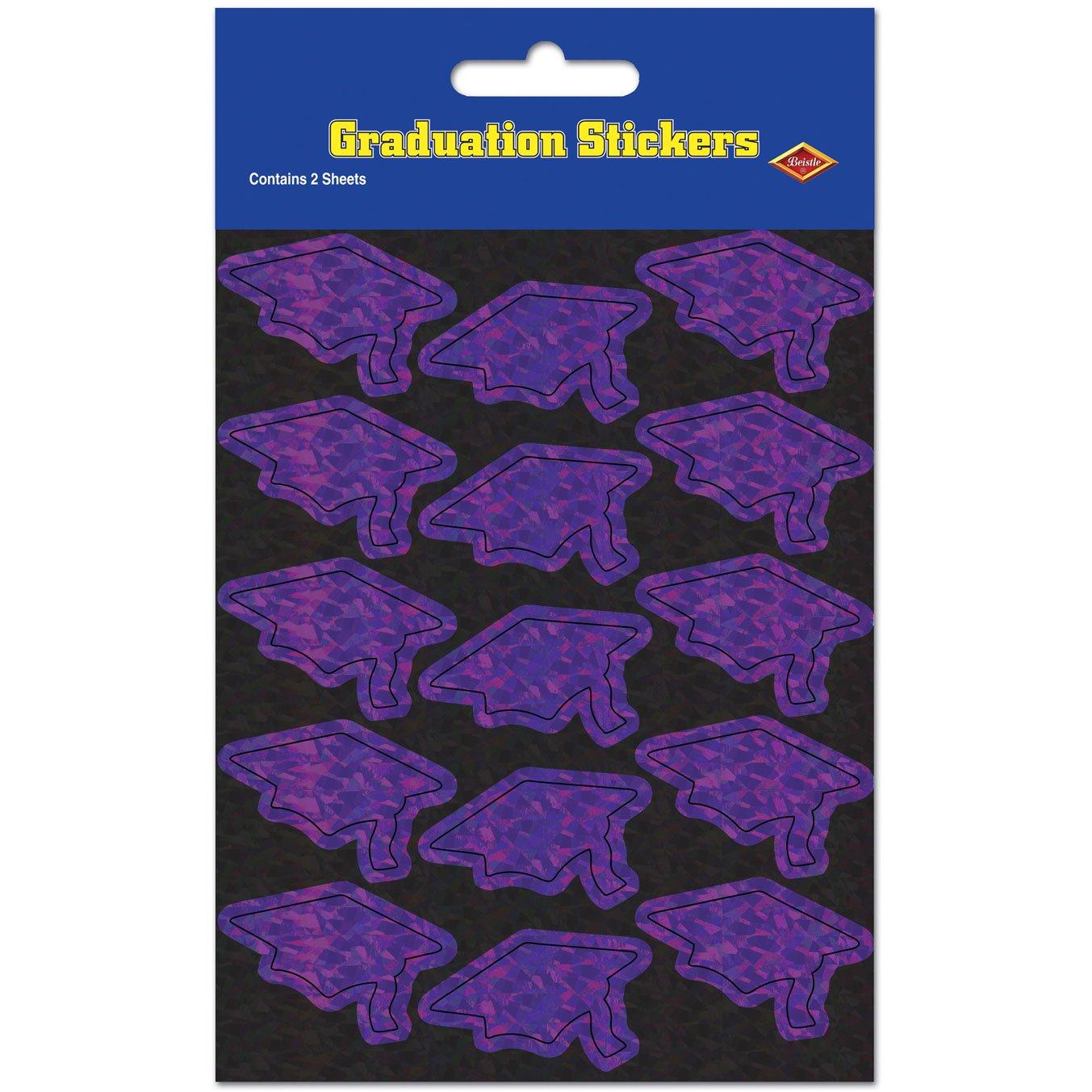 Prismatic Grad Cap Stickers Beistle 2 Shs//Pkg purple 1 count Party Accessory