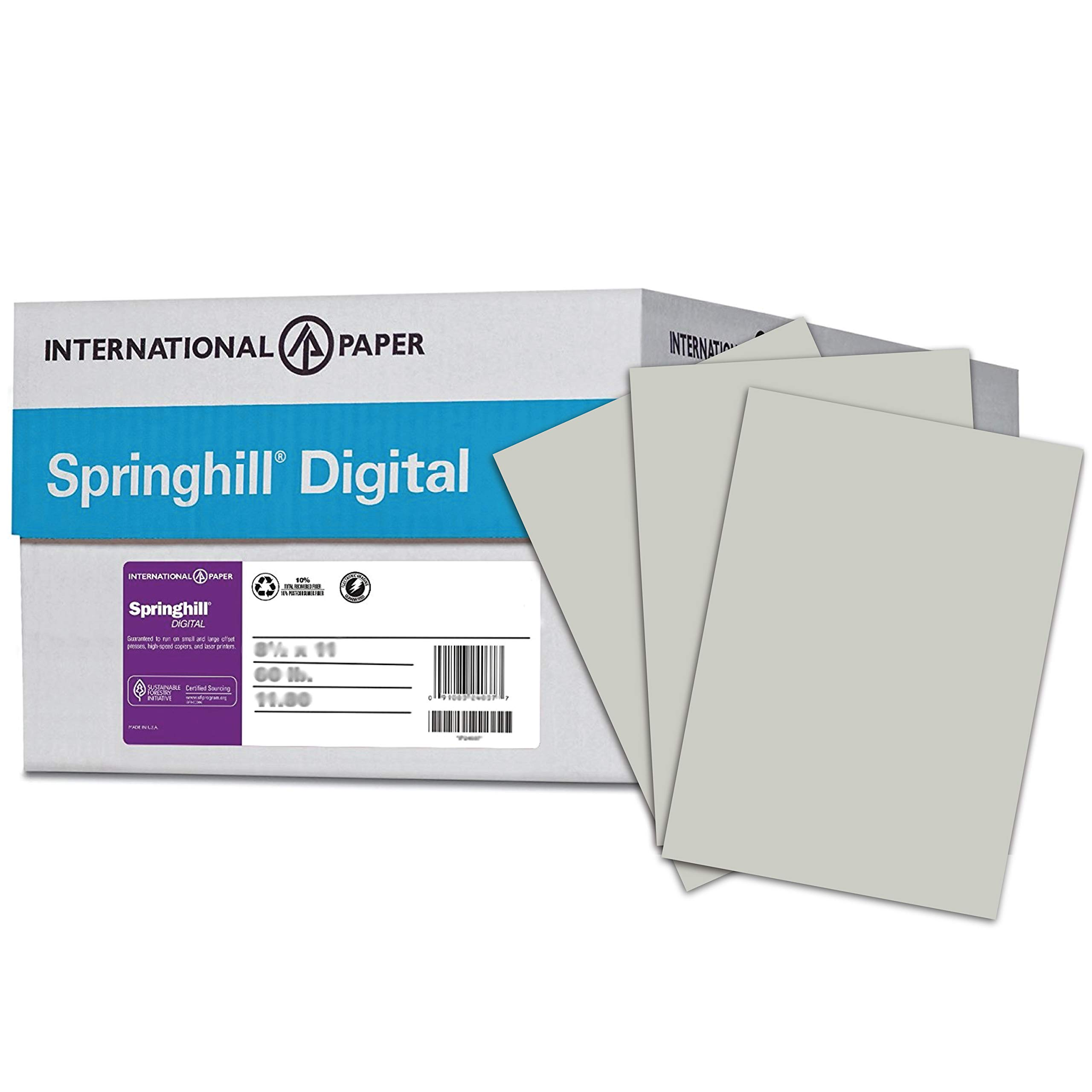 Springhill Colored Paper, Cardstock Paper, Gray Paper, 110lb, 199 gsm, 8.5 x 11, 8 Reams / 2,000 Sheets - Index Card Stock, Thick Paper (065300C) by Springhill