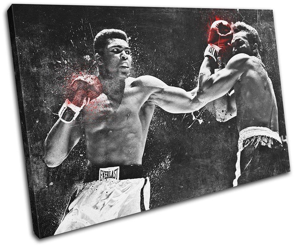 Bold Bloc Design - Muhammad Ali Boxing Grunge Sports 60x40cm SINGLE Leinwand Kunstdruck Box gerahmte Bild Wand hangen - handgefertigt In Grossbritannien - gerahmt und bereit zum Aufhangen - Canvas Art Print