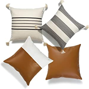 """Hofdeco Moroccan Tassel Faux Leather Pillow Covers ONLY, Camel Gray Beige Stripes, 18""""x18"""", Set of 4"""