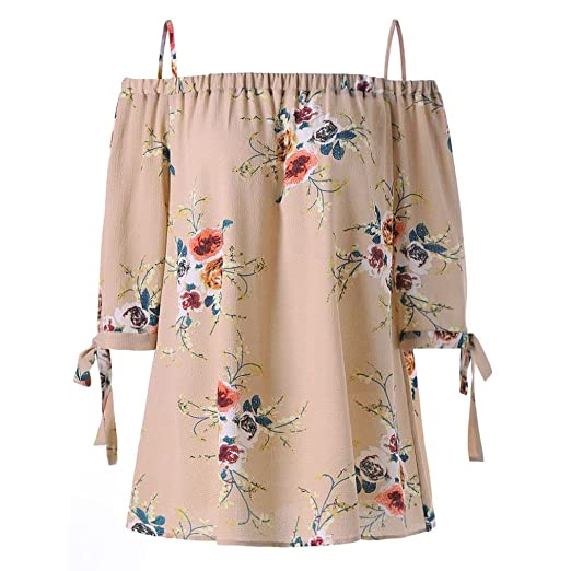 6ac9a7886d90f6 BCDshop Womens Loose Floral Shirts Off Shoulder Blouse Casual Fashion  Summer Tops (Beige