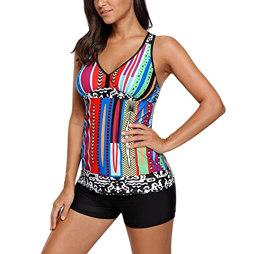 81a5ea5e7999e MuCoo Women's Sexy Halter Backless Polka Dots 2pcs Tankini Swimsuit with  Swim Shorts at Amazon Women's Clothing store: