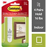 3M Command Plastic Picture and Frame Hanging Strips - Large (White, 6-Strip, Pack of 4)