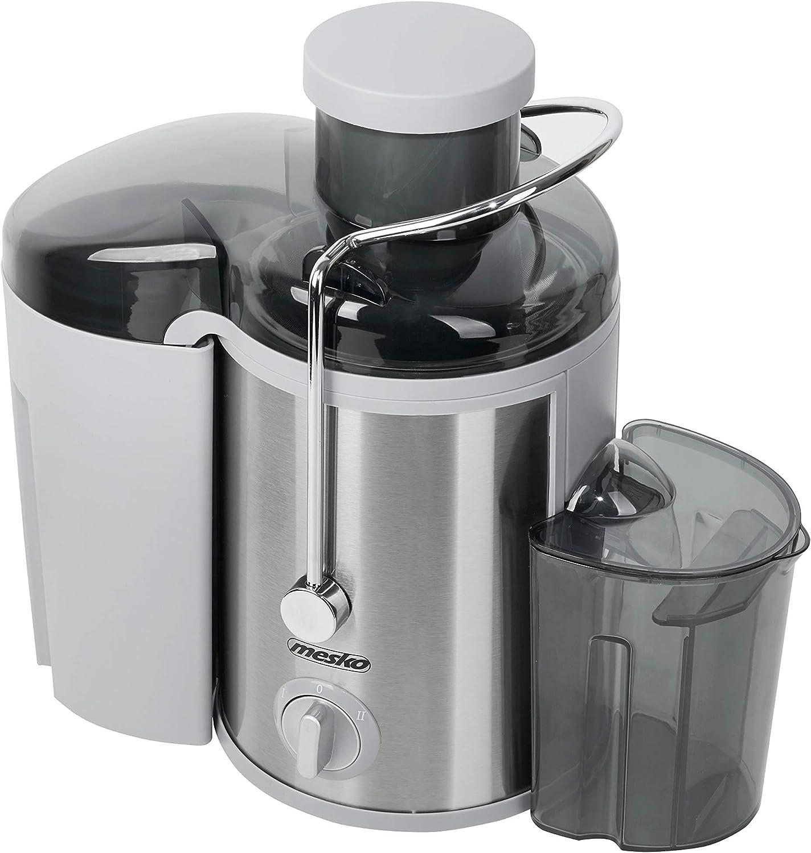 MESKO Licuadora MS 4126 para frutas y verduras de acero inoxidable, máquina de zumo / juice, entrada de 65 mm, exprimidor con depósito de 450 ml, base antideslizante estable, eléctrica