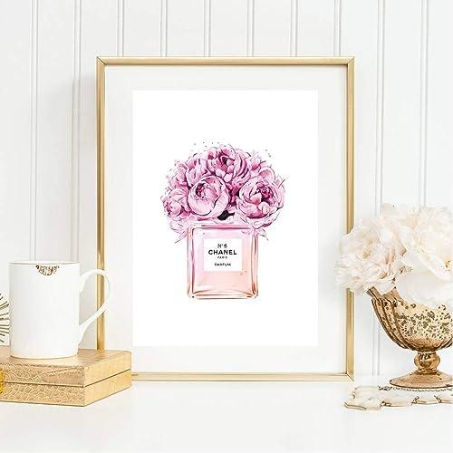 Din A4 Kunstdruck Chanel Coco Chanel No 5 Parfum Flakon Blumen Pink