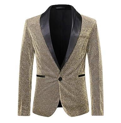 Suits Man - Traje metálico para Hombre, 1 botón, Corte Ajustado ...
