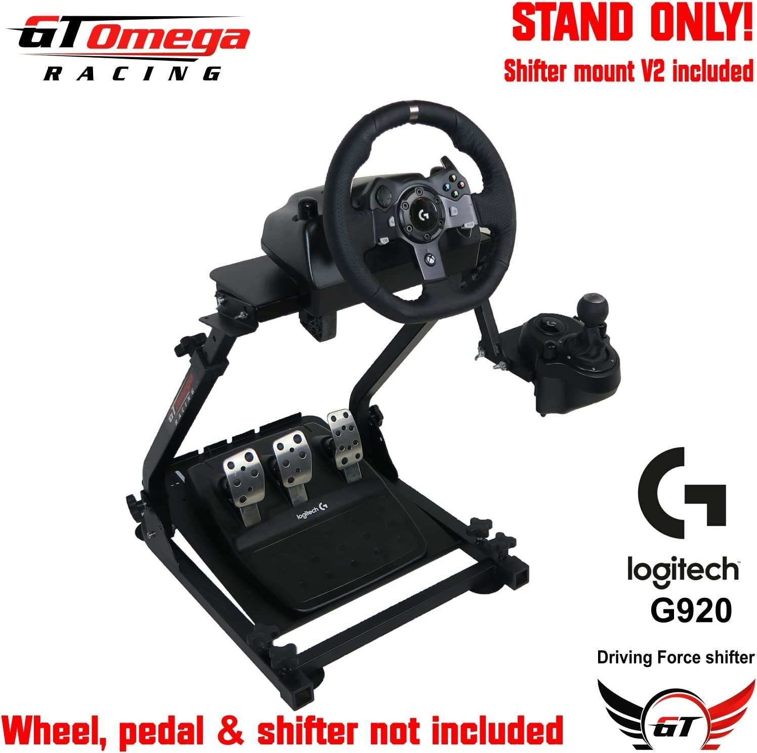 0cd693d4877 GT Omega Racing Wheel Stand for Logitech G920 Driving Force Gaming Steering  Wheel, Pedals & Gear Shifter Mount V2, PS4, Xbox, Ferrari, PC - Foldable,  ...