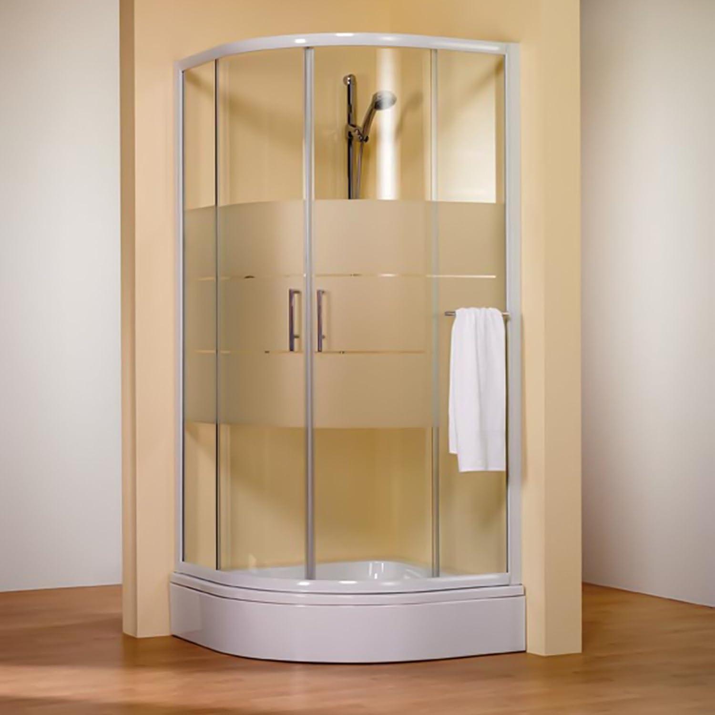Acceso de ángulo Circular Olympia con puertas de ducha correderas, mampara de ducha plana redondeada con tratamiento antical, enmarcado, cristal Décor satinado Light, perfil blanco, 80 x 80 x 185 cm): Amazon.es: