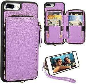 iPhone 8 Plus Wallet Case, ZVE iPhone 7 Plus Zipper Wallet Case with Credit Card Holder Slot Handbag Purse Wrist Strap Case for Apple iPhone 7 Plus 8 Plus, 5.5 inch - Light Purple