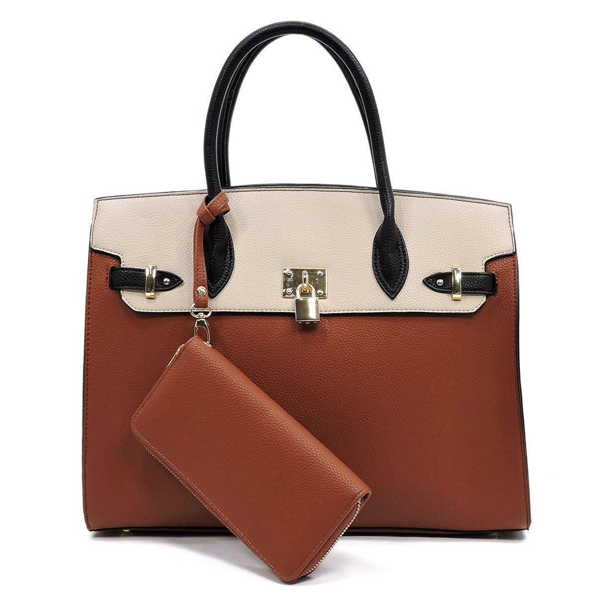 905e45563828 Deluxity Large Carry-all Padlock Accent Structured Tote + Wallet ...