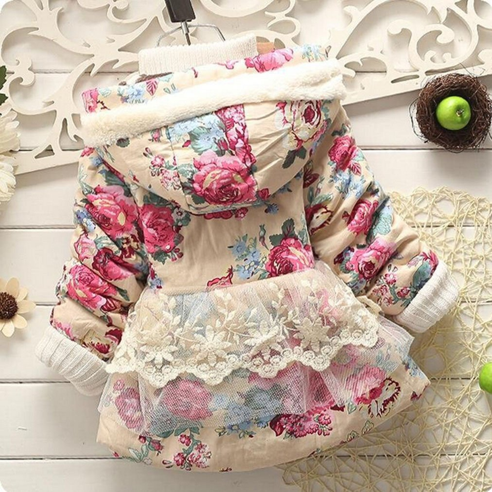 Baby Girl Floral Bowknot Thickened Warm Jacket Winter Coat 12-18Months Pink