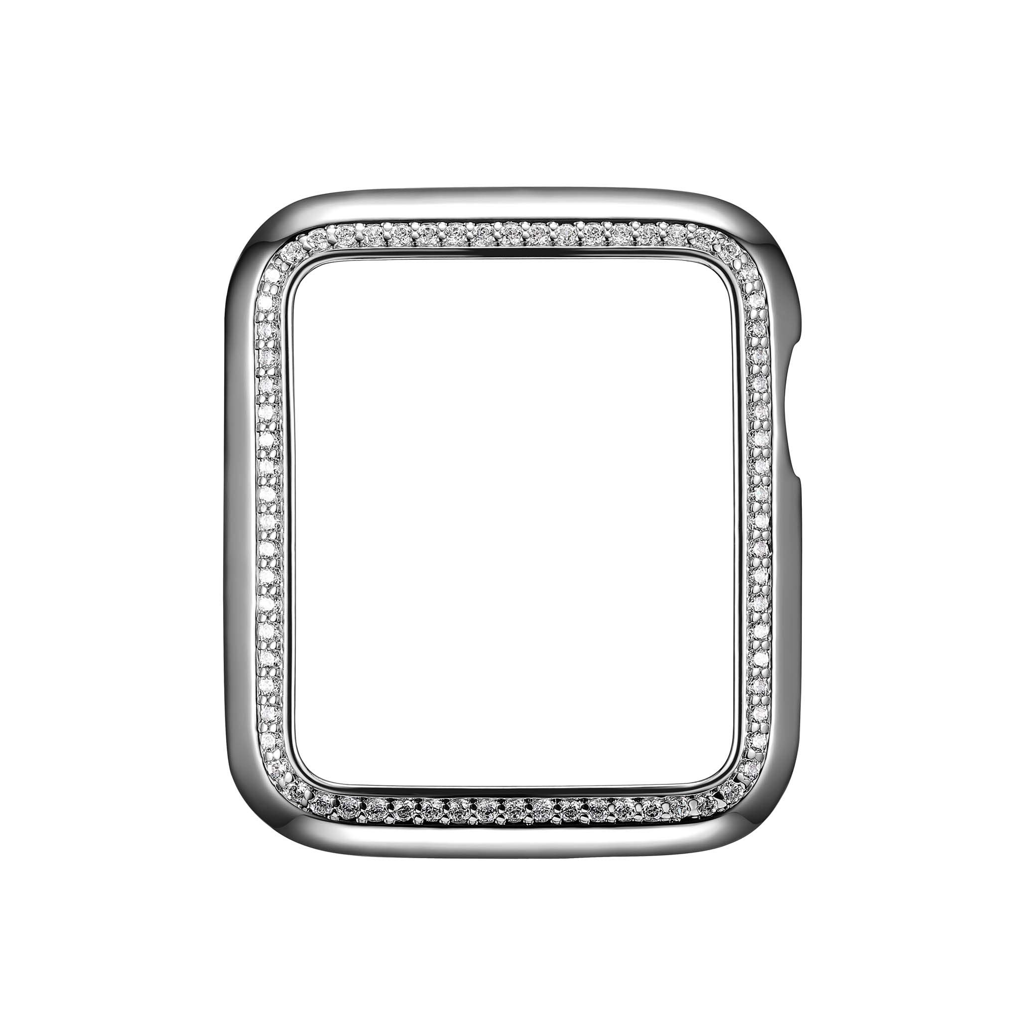.925 Sterling Silver & Rhodium Plated Jewelry-Style Apple Watch Case with Swarovski Zirconia CZ Border - Small (Fits 38mm iWatch)