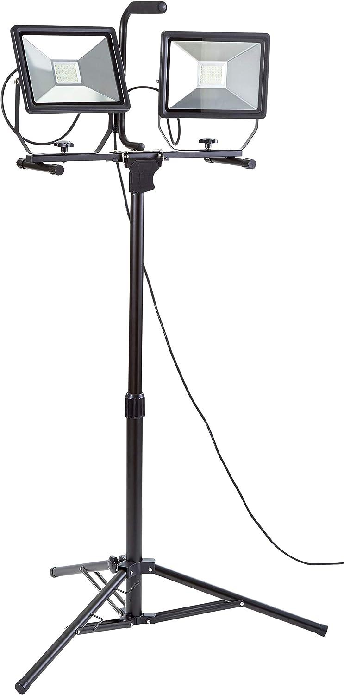 LED Baustrahler Fluter Arbeitslampe 50W gelb schwarz auf Ständer mit 180cm Kabel