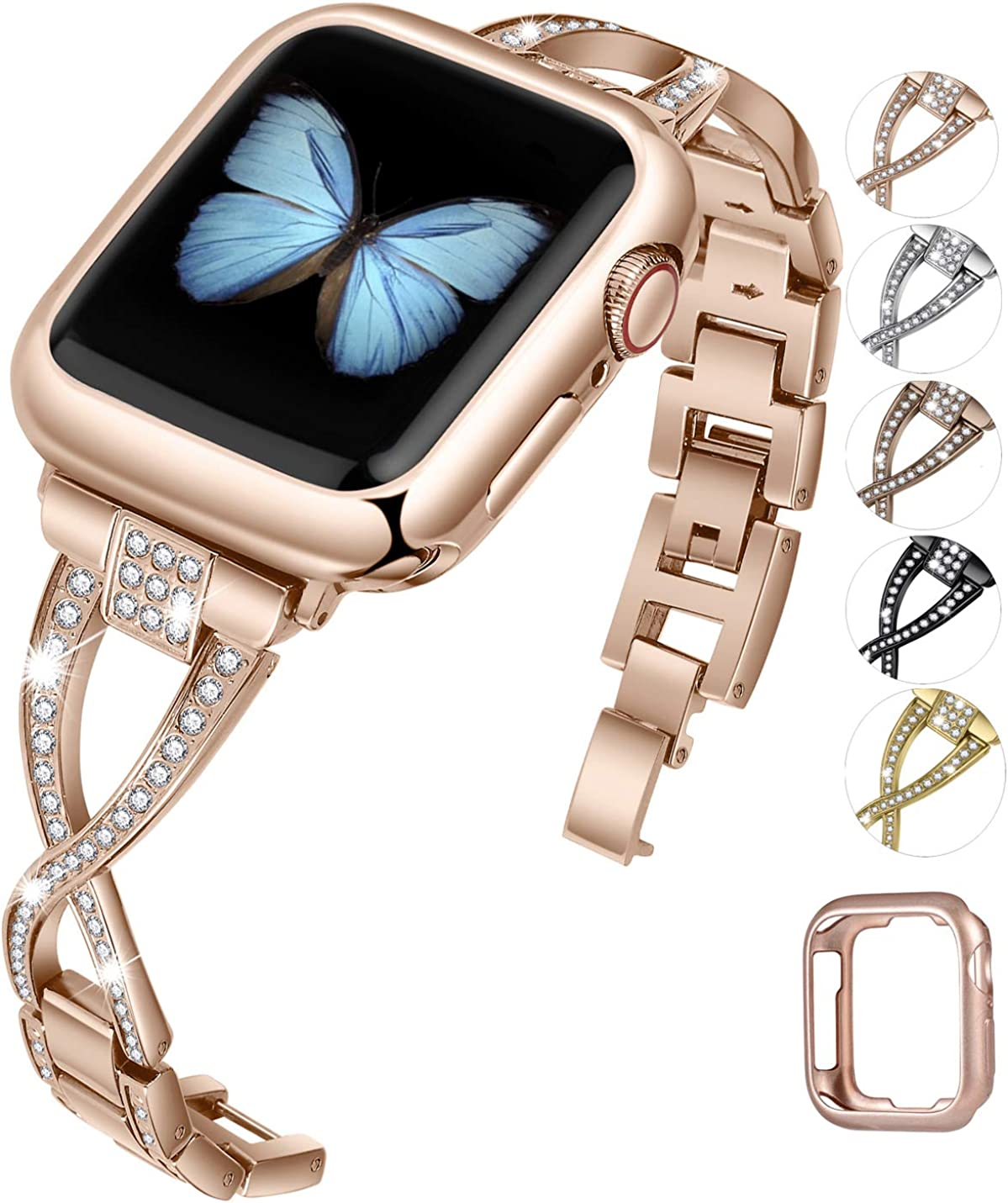JFdragon Watch Bands Compatible with Apple Watch 38mm 40mm 42mm 44mm SE Series 6 5 4 3 2 1 Women Jewelry Metal Strap with Bling Diamond Replacement Bracelet