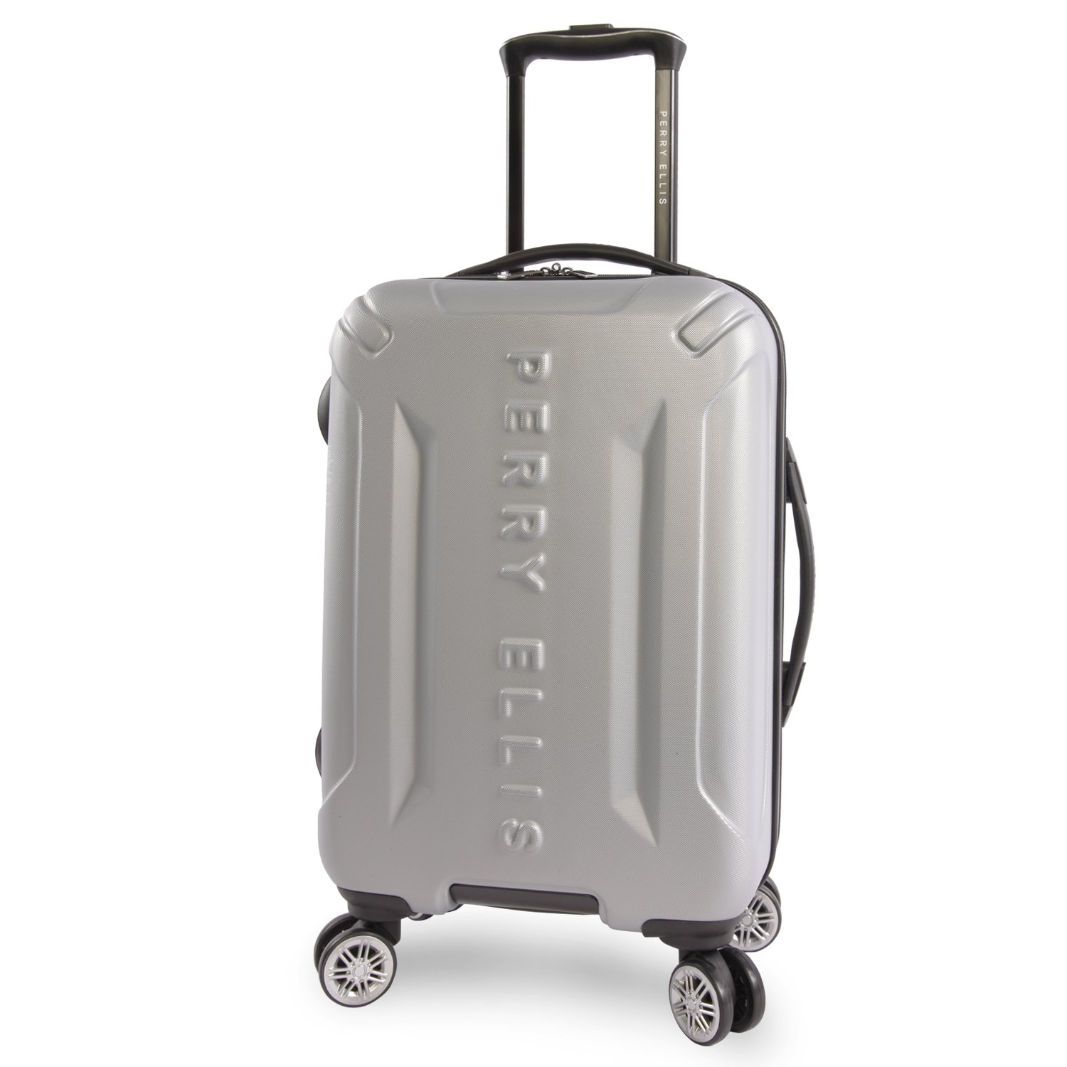 Perry Ellis Delancey II Hardside Carry-on Spinner Luggage, Silver