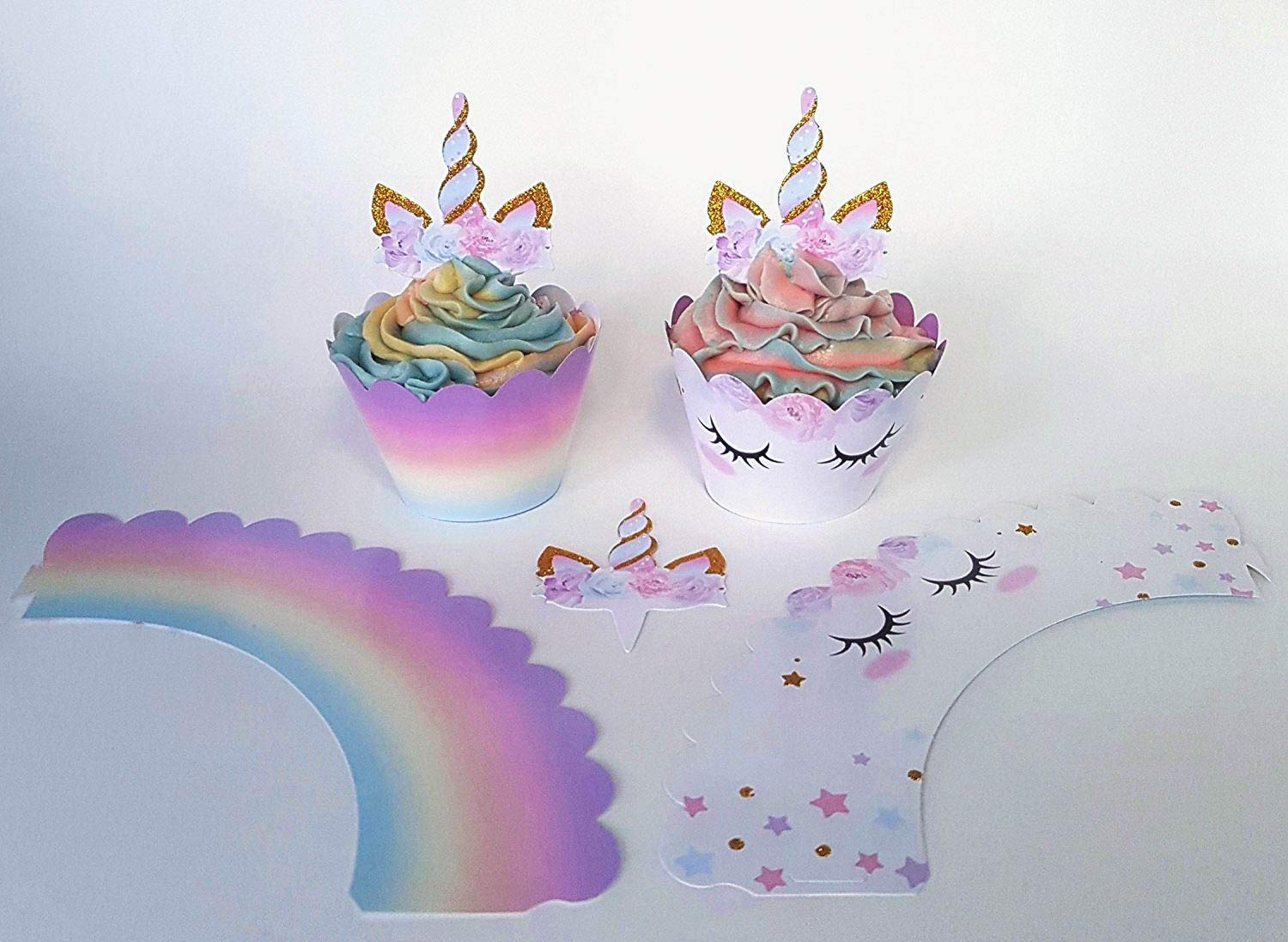 Unicorn Cupcake Decorations, Double Sided Toppers and Wrappers, Rainbow and Gold Glitter Decorations, Cute Girl's Birthday Party Supplies, 24 sets -- By Xeren Designs 4