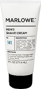MARLOWE. No. 141 Men's Shave Cream 6 oz | Natural Shea Butter & Coconut Oil Shaving Cream | Aloe & Citrus Scent