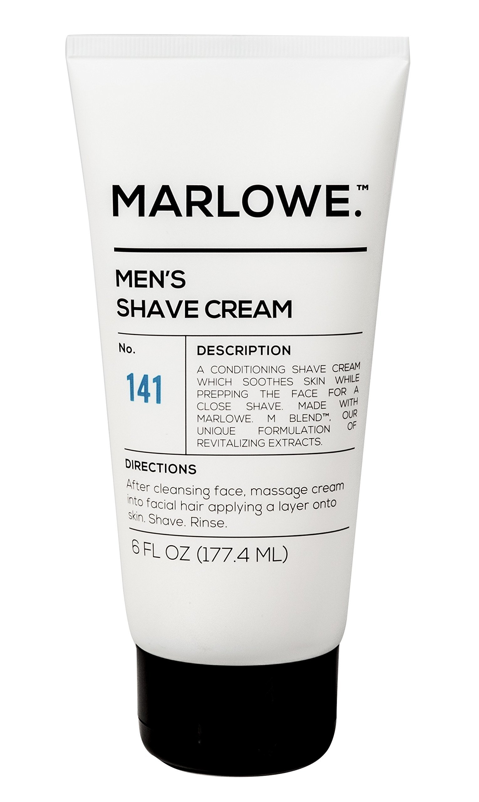 MARLOWE. No. 141 Men's Shave Cream 6 oz | Natural Shea Butter & Coconut Oil Shaving Cream | Aloe & Citrus Scent