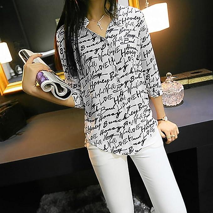444f5ab1dcd Amazon.com  Misaky Women 3 4 Sleeve Letter Pattern Chiffon Blouse Tops  Office Work Shirts  Clothing