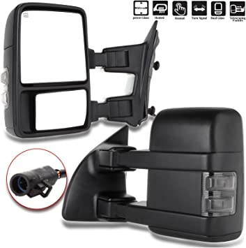 PAIR POWER+HEATED+TURN SIGNAL REAR TRAILER TOWING SIDE MIRROR FOR 99+SUPER DUTY