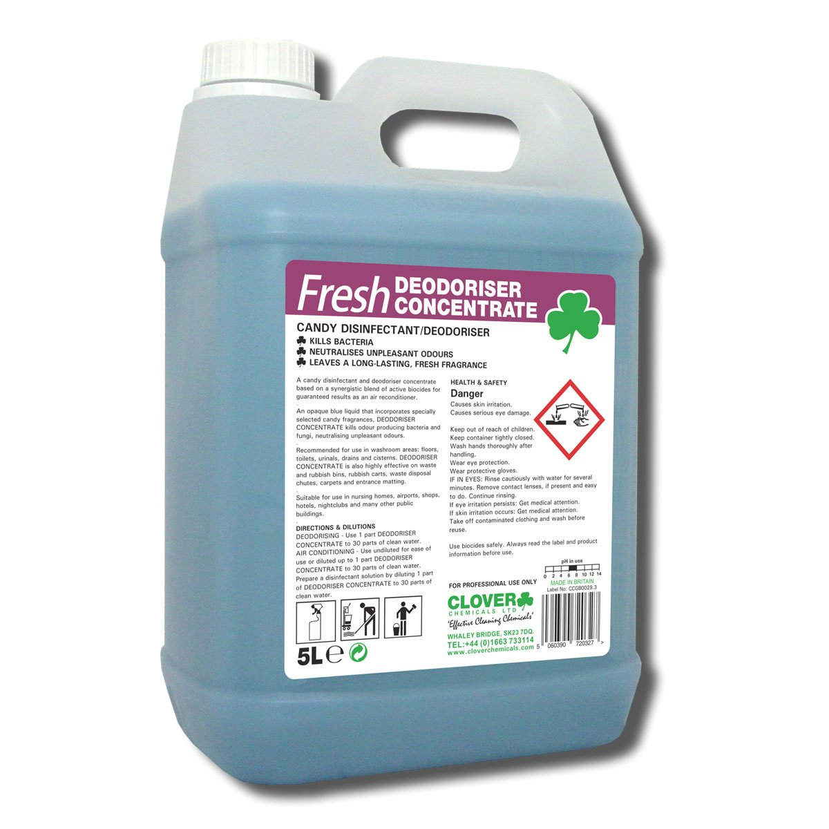 Clover 223 Fresh Candy Disinfectant & Deodoriser 5 Litre - Pack of 2 Clover Chemicals