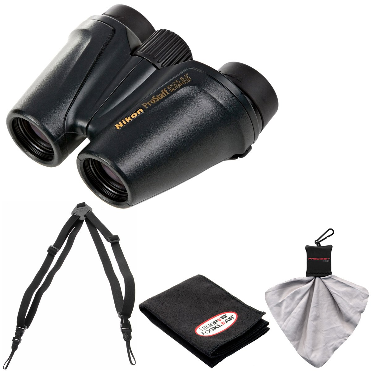 Nikon Prostaff 8 x 25防水/ Fogproof双眼鏡with Case +持ち運び簡単ハーネス+クリーニング布キット B01CPNGRWY