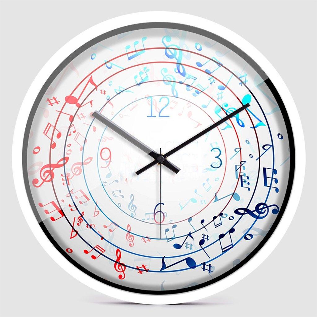 掛け時計 ミュートウォールクロックシンプルなパーソナリティクリエイティブモダンリビングルーム壁掛けアートクラスルームクロック Rollsnownow (色 : 白, サイズ さいず : 12インチ) B07BMVPY9Y 12インチ 白 白 12インチ