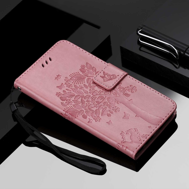 Rose Coque pour Samsung Galaxy A01 Antichoc Flip Case Housse R/étro Emboss S/érie de Chat et darbre pour Samsung Galaxy A01 Etui en Cuir PU Portefeuille