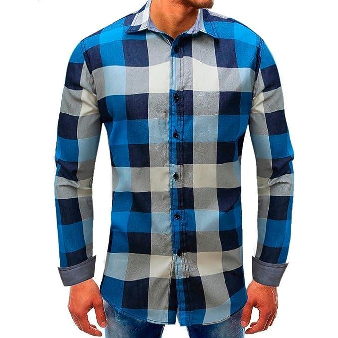 897ae5d3f Camisas Hombre Manga Larga Cuadros Camisa De Hombre Otoño ❤️AIMEE7 ...