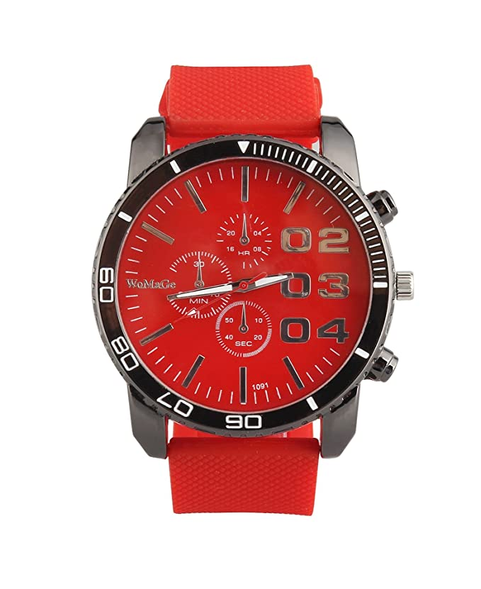 Amazon.com: ShoppeWatch Mens Large Face Wrist Watch Unisex Silicone Band Reloj Para Hombre Red Dial SW1091RD: Watches