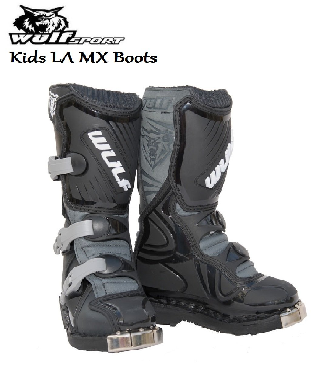 MOTORBIKE WULFSPORT KIDS MX ENDURO BOOTS Motorcycle Motocross Sport Racing Boots BLACK