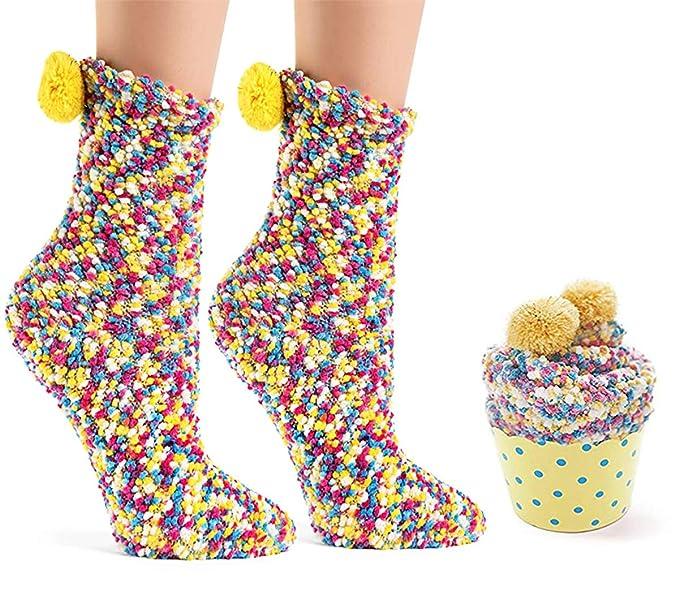 Mattelsen Calcetines divertidos Mujer Con Pompon Empaquetado De Forma Pastel Envoltorio de Regalo de Cupcakes Para