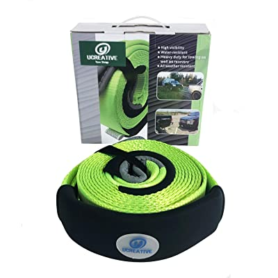 """Ucreative Heavy Duty 3"""" x 20' Tow Recovery Strap 35,273LB with Protective Loops - Recover Vehicle Stuck in Mud Snow: Automotive"""
