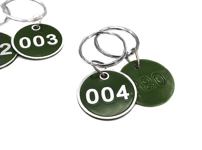 200 llaveros de metal con placa numerada color verde talla /única N/úmeros de 1 a 200 Aspire