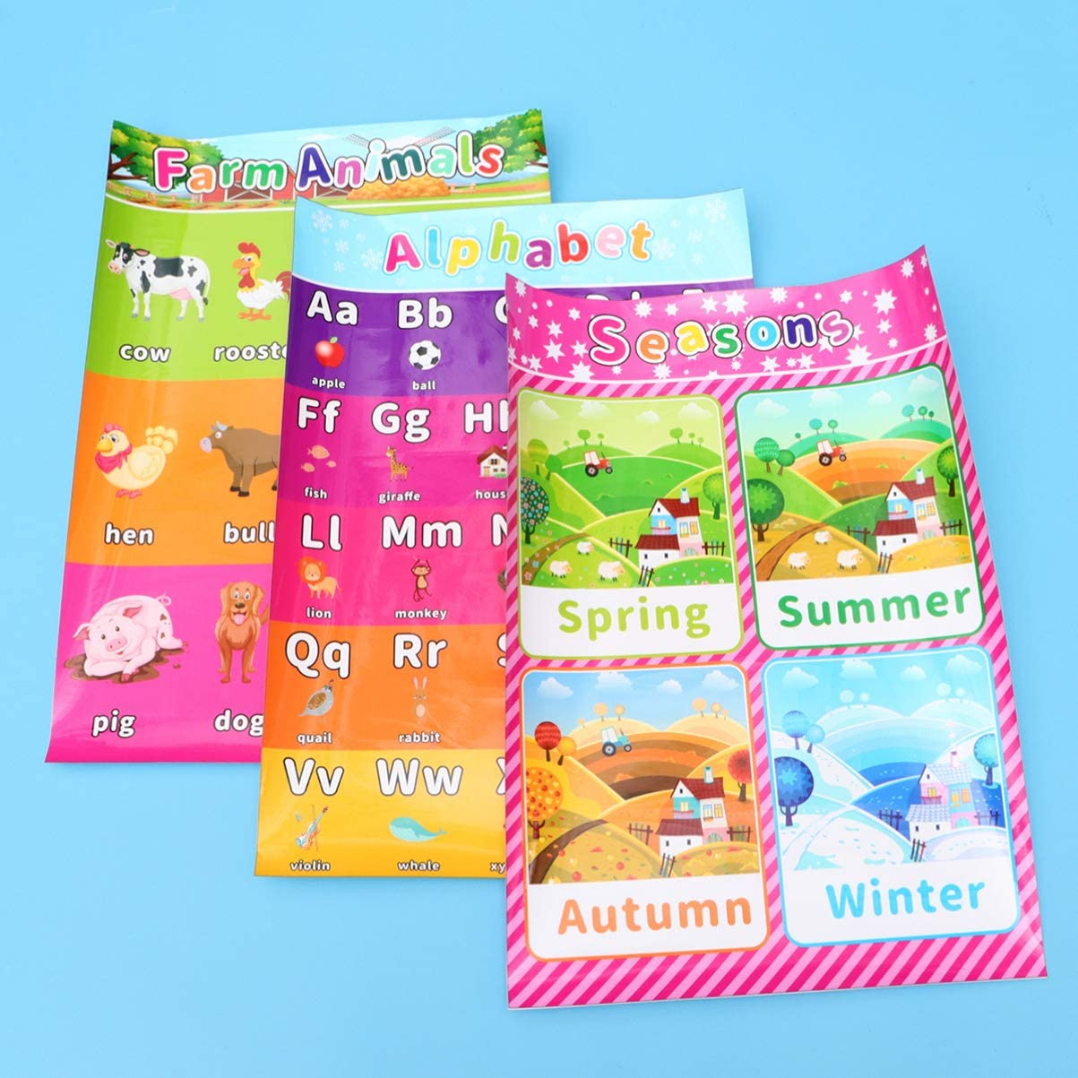 Ense/ñar N/úmeros Alfabeto Colores Meses y M/ás 16 x 11 Pulgadas 8 Carteles Educativos Preescolares para Aprendizaje de Beb/é y Ni/ño con 60 Puntos de Pegamento para Escuela en Casa Guarder/ía