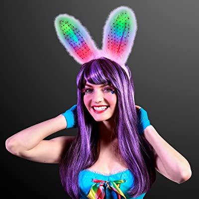 Pink and White Light Up Bunny Ears Headband with Multicolor Flashing LED Lights: Toys & Games