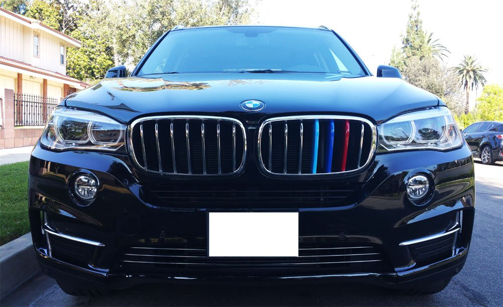11 Beams iJDMTOY M-Colored Grille Insert Trims For BMW F30 3 Series 320i 328d 328i 335i 340i w//Standard Kidney Grill NOT for 8-Beam Black Grille nor M3