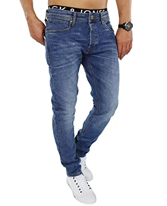 0f0d04ba8de012 JACK   JONES Herren Jeans jjiTIM 085 Used Look Blue Denim Elasthan Slim Fit  (27W