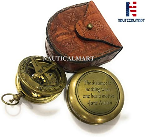 Handmade Brass Magnetic Compass//The distance is nothing when one...~ Jane Austen