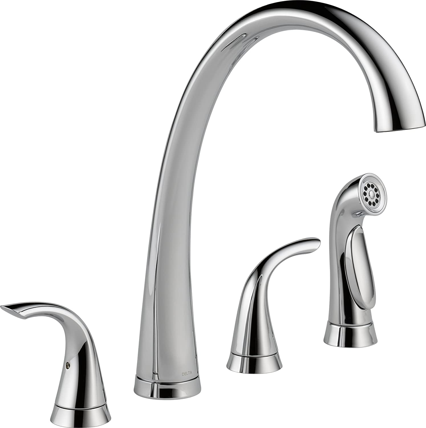 Great Delta Faucet 2480 DST Pillar Two Handle Widespread Kitchen Faucet With  Spray, Chrome   Touch On Kitchen Sink Faucets   Amazon.com