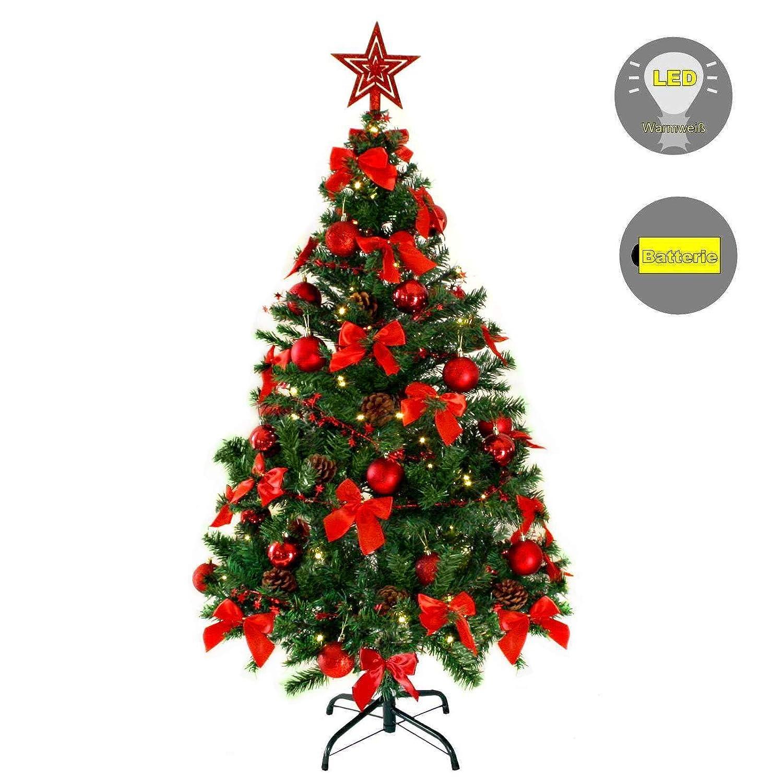 Baunsal GmbH & Co.KG Weihnachtsbaum Tannenbaum Christbaum künstlich 150 cm mit Dekoration geschmückt und Lichterkette mit Micro LEDs