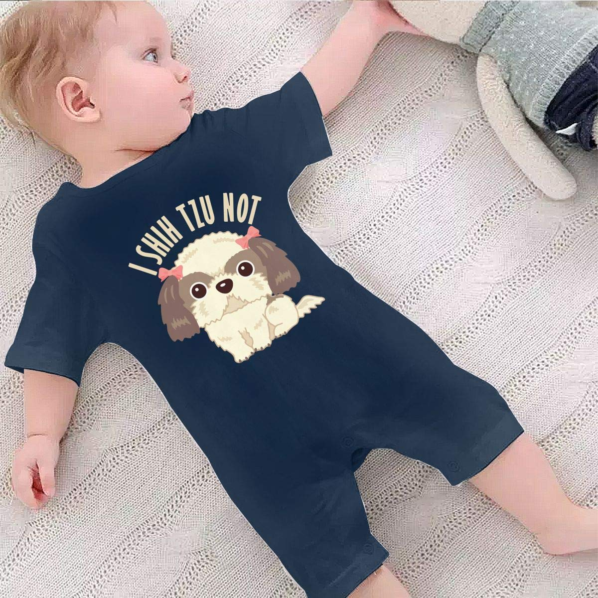 A1BY-5US Newborn Infant Baby Girls Boys Bodysuits Shih Tzu Dog Cotton Short Sleeve Jumpsuit