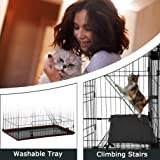 Cat Cage Cat Crate Cat Kennel Cat Playpen with Free Hammock 3 Cat Bed 3 Front Doors 2 Ramp Ladders Perching Shelves,67 inches