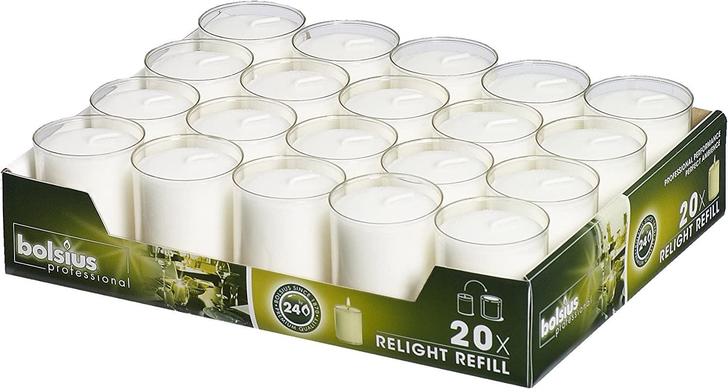 Bolsius Votive Candles – Set of 20 Restaurant and Relight Party Candle Holders –Votive Candles in Clear Cup – Home Décor Candles with Approx. 24 Hour Burning Time