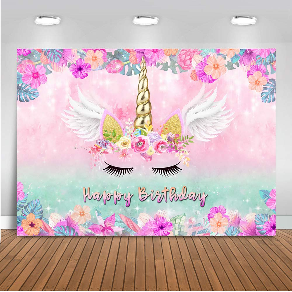 Mehofoto Unicorn Birthday Backdrop Purple Pink Floral Unicorn Photography Background 7x5ft Vinyl Unicorn Theme Birthday Party Banner Backdrops by Mehofoto