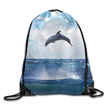 Acme&Real Dolphin Drawstring Bags Portable Backpack Pocket ...