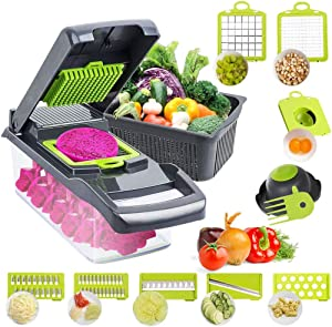 Vegetable Chopper Dicer Slicer Cutter Food Grater 12 in 1 Mandoline Veggie Chopper with 8 Blades, Used as Onion, Fruit Salad,Potato Diced and Carrot Slice